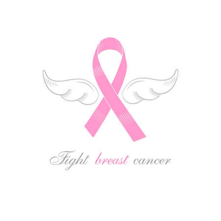 Symbol of fighting Breast Cancer pink ribbon with the silver angel wings. Sign for support campaign for breast cancer awareness month.