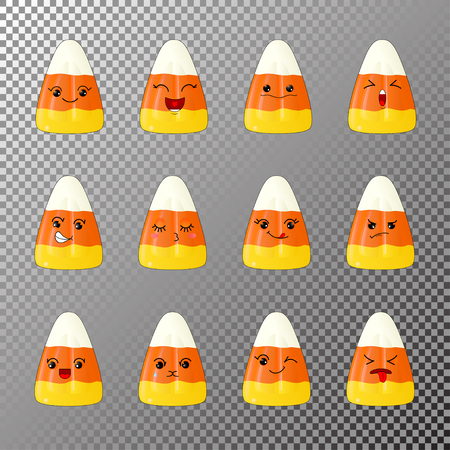 A set of cartoon corn chocolates, emoji joyful, singing, in love, offended, dissatisfied, wicked, winking, and others. Design elements for Halloween, Thanksgiving, stickers, patches packaging of sweets and poster Ilustração
