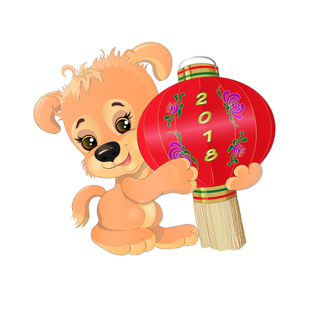 Puppy with Chinese lantern Иллюстрация