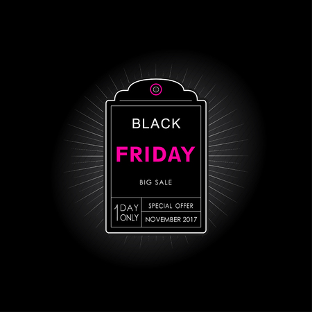 Banner, poster with a Black Friday sale label in a line design style on a black background.