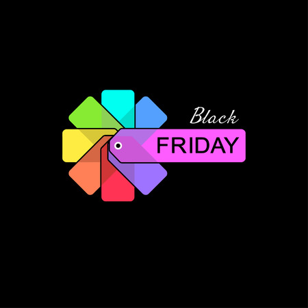 Black Friday tags on black background, vector illustration.