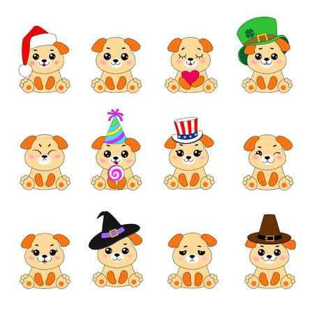 Twelve Emoji Dogs Imagens - 90580302