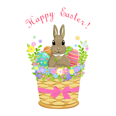 Decorated with flowers and bow Easter basket with cute rabbit bunny and painted Easter eggs, isolated on white background