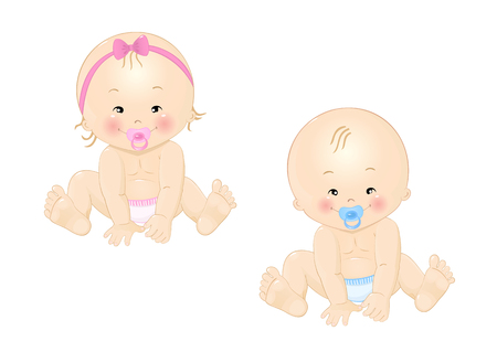 Little kids or babies sitting Vector illustration.