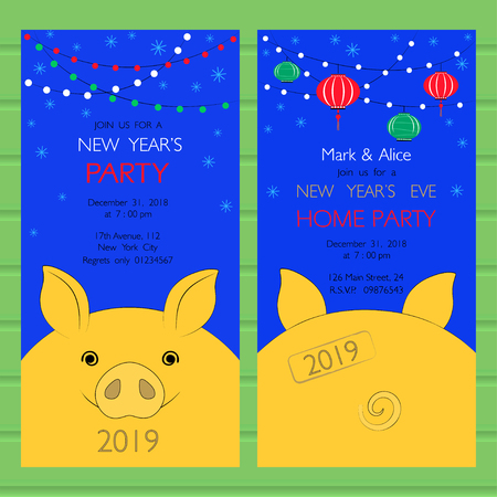 Party invitation template with yellow pig as a symbol of New Year. It can be used as banner, tag, card for business.