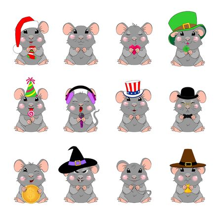 Set of funny mice emotions in hats for different holidays. Cartoon character, smiles, symbol of the year of the rats , sticker, avatar, patch, design element on the calendar, tags