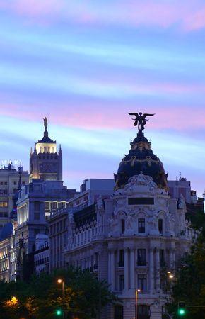 landmark buildings of Madrid just before night spotlights are lit