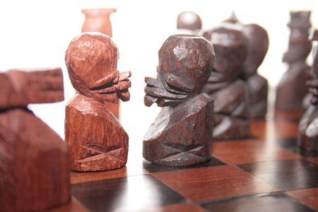 confrontation of pawns in southafrican handmade chess