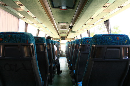 bus interior from behind Stock Photo