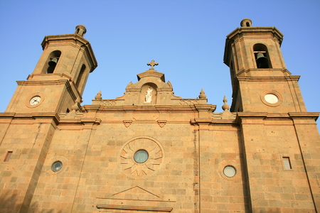 centenarian: porch of San Sebastian curch and national monument in Aguimes, Canary islands
