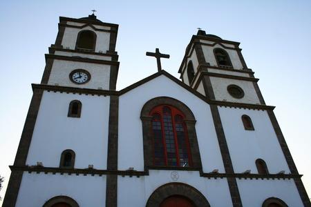 centenarian: porch of Candelaria Church in Ingenio, Canary Islands Stock Photo