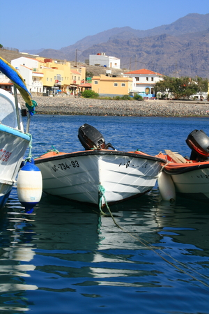 fishing boats anchored in Saint Nichols port in Canary Islands Stock Photo