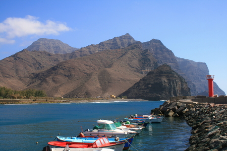 fishing boats anchored in San Nicolas port in Canary Islands