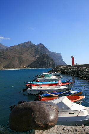 fishing boats at San Nicolas port in Canary Islands