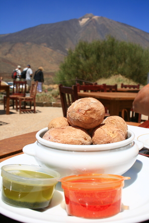 albumin: wrinkled potatoes with canary sauce, typical Canary Islands food