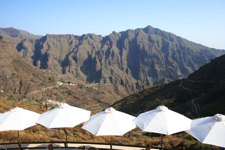 umbrellas and masca gorge in tenerife