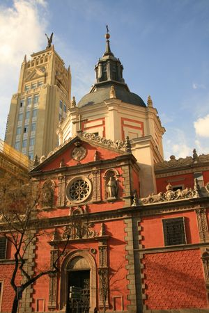 church of Calatravas together with one of the landmark buildings of banking district of Madrid Stock Photo