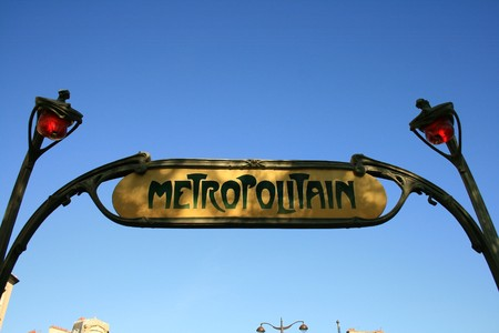 traditional subway sign post in Paris