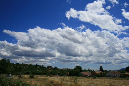 low clouds over the prairie near Madrid in Spain Stock Photo