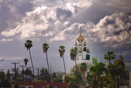 surreal vista of a dome and palm trees in Los Angeles