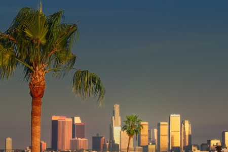sunset light over Los Angeles Downtown Editorial