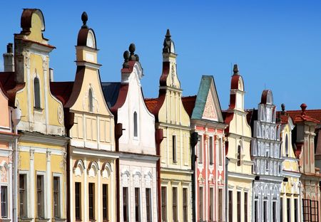 houses - front face in the square in Telc Фото со стока