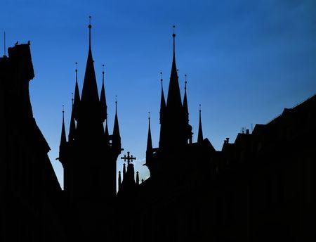 Prague, silhouette Tyn church