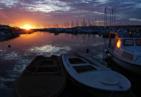 Evening mood at the port Biograd - Croatia