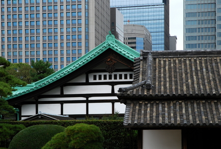 okyo - Japan, Otemachi district, old and modern, contrast