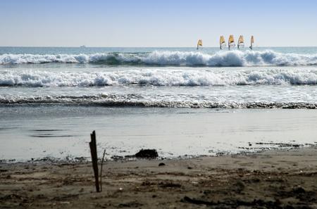 Windsurfing on the beach in Kamakura, Japan