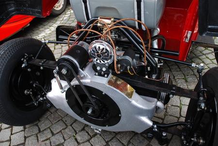 veteran car TATRA, detail of the engine compartment Фото со стока