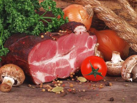 Fresh smoked meat photo