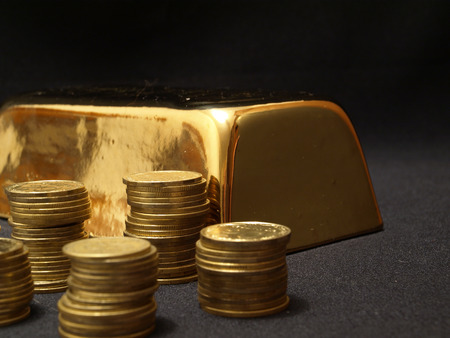 Gold ingot Stock Photo