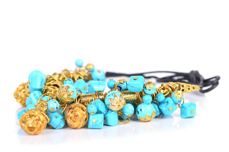gold necklace: Gold necklace with turquoise