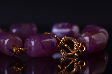 crystalline gold: Bracelet with amethyst