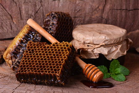 drizzler: Aroma of the fresh honey presented by the nature Stock Photo