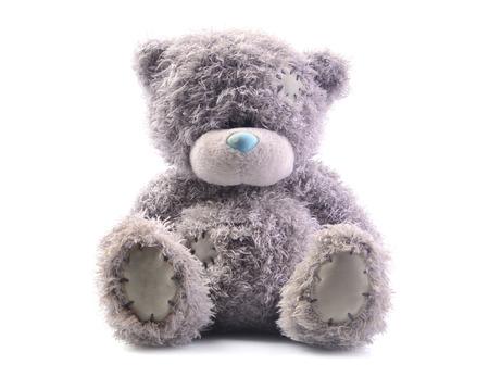 Cute bear toy sits on the floor