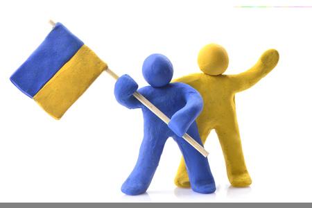 Ukrainian flag on white background