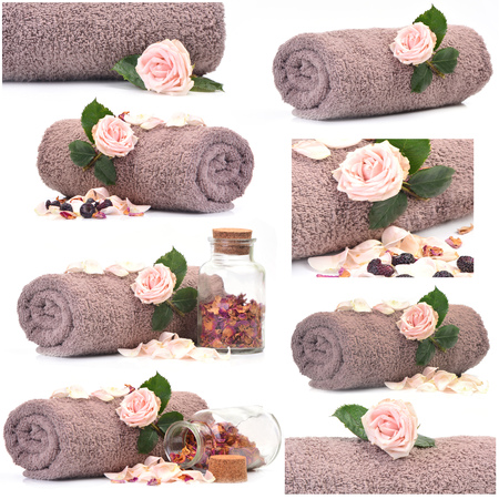 Collection of Bath towel with rose