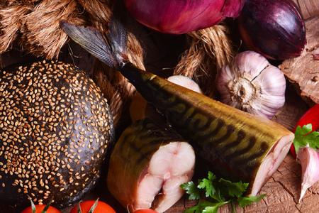 Smoked fish mackerel and vegetables