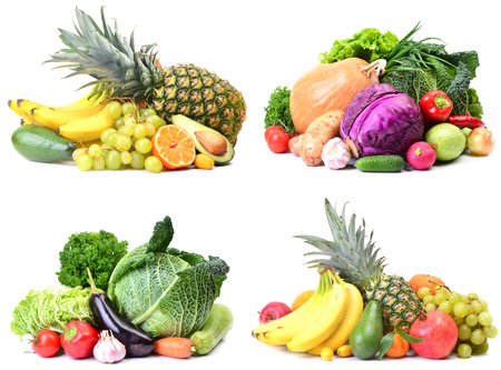 Fruit and vegetables on white background Banque d'images
