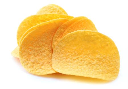 Potato chips on a white background