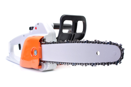 Gasoline chainsaw isolated on white background