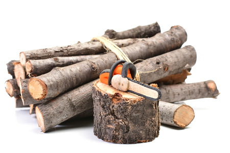 Electric chainsaw with a pile of sawn logs Stock Photo