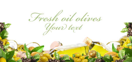 Olive oil on a white background