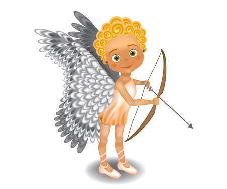 Cute baby angel - Cupid with bow and arrow. Vector illustration isolated on white background.