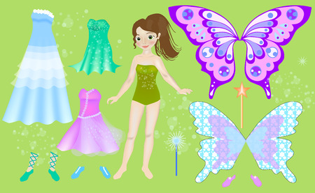 Paper doll of beautiful fairy. Body templates. Dress up