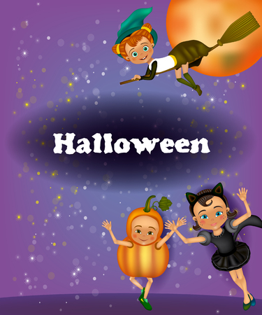 Halloween party flyer for children. Invitation to a children's masquerade. Halloween greeting card for Kids Costume Party.