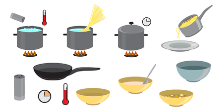 Cooking Set of different icon set for kitchen, restaurant or menu. Cooking and preparation icons. Vector elements on a white background.