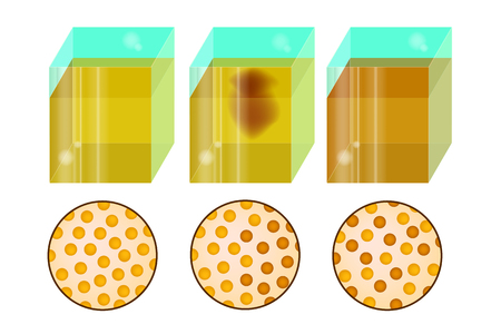 Diffusion. Movement of molecules or atoms. Illustration